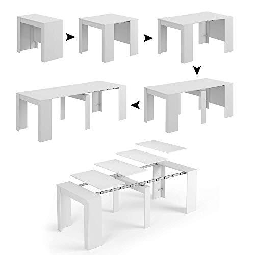 Tavolo Allungabile Consolle Clarissa, Design Elegante Moderno, Consolle Casa Ufficio, Tavolo 10 Posti, Multiposizione Salvaspazio, Allungabile Fino A 2.37 Metri 78 x 51 x 90 cm, Bianco Lucido