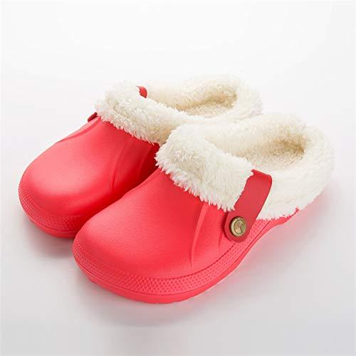 Syczdntx Pantofole dei sandali d'inverno pantofole scarpe morbide Indoor casual Crocus Zoccoli con pelliccia fodera in pile piano casa delle donne pantofole donna ( Color : Red , Shoe Size : 40 )