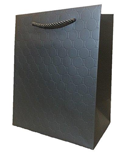 Black Gift Bags with Handles Medium (12 Bags) 8x10x5 Graduation Paper Shopping Premium Quality Heavy Duty Modern Fancy Matte Elegant Embossed Wedding Guests Birthday Bridal Baby Shower Merchandise