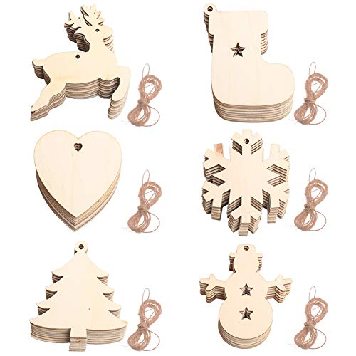60pcs Wooden Christmas Decorations Christmas Hanging Ornaments Pendant Natural Wood Slices With Predrilled Hole Wooden Carved Ornaments for DIY Tree Crafts Xmas Wedding Party Decoration for Home A