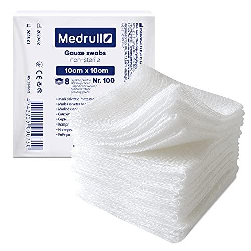 Medrull Mulltupfer 100 Stück - kompressen 10x10 unsteril - 8-lagig mullkompressen 10cm x 10cm - Wundauflage, Mullbinden, Gaze Tupfer, Verbandsmaterial