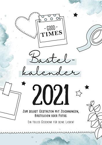 Bastelkalender Din A4 zum selbst gestalten 2021, Wandkalender zum Aufhängen, Jahreskalender mit Monatsübersicht, Fotokalender zum Basteln und Beschriften, tolles Geschenk