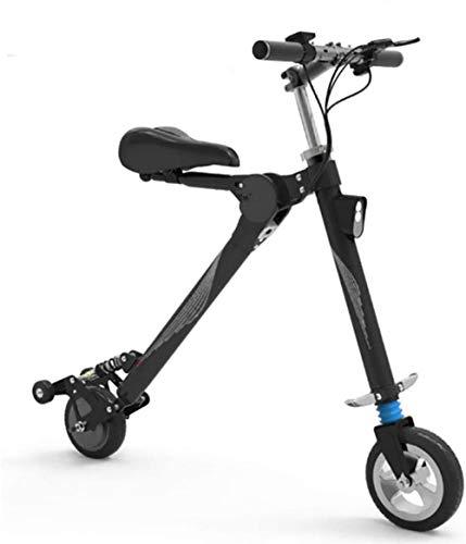 Elektrisches Fahrrad Aluminium Rahmen Adult Mini Folding Elektro-Auto-Fahrrad Zweirad-Mini Pedal Electric Car-Lithium-Batterie Fahrrad im Freien Abenteuer, Farbe: Weiß (Color : Black)
