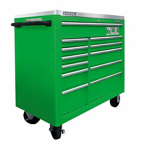 Bahco-Werkstattwagen mit 12 Schubladen, extragroß, Edelstahl-Oberfläche,grün