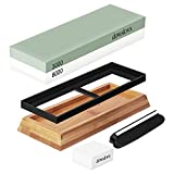 Double Sided Sharpening Stone Set for Kitchen Knives, 3000/8000 Grit Whetstone Waterstone Sharpener with Bamboo and Silicone Base, Angle Guide, Flattening Stone