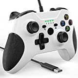 Wired Controller for Xbox One, YCCSKY Xbox One Wired Gaming Controller for Xbox One PC Windows 7/8/10,with Audio Jack Dual-Vibration Turbo (White)