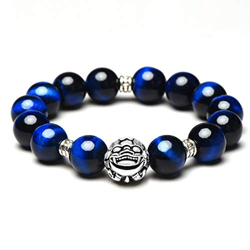 Feng Shui Wealth Bracelet for Good Luck Blue Tiger's Eye Silver PIXIU Buddha Round Beads Bracelets for Women/Men 925 Feng Shui Lucky Chinese Gifts Attract Money for Good Fortune Courageous,14mm