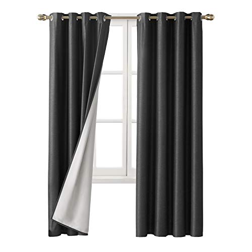 Deconovo Striped Textured Complete Blackout Curtains with Coated Thermal Insulated Lining for Living Room Dark Grey 52W x 95L Inch 2 Panels