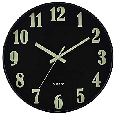 JoFomp Night Light Wall Clock, 12 Inch Silent Non-Ticking Wall Clocks, Large Luminous Function Numbers and Hands, Battery Operated Decorative Wall Clock for Office, Kitchen, Living Room
