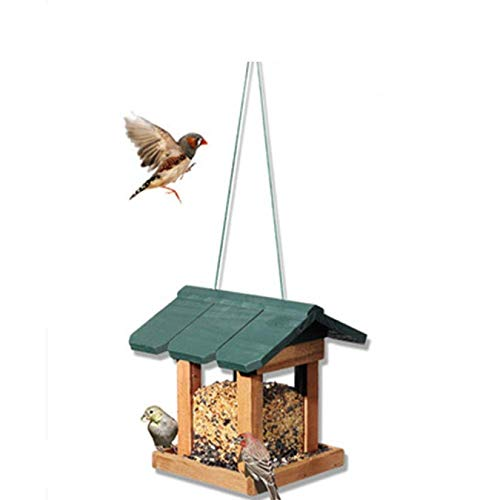 SHJMANPA Transparent bird feeder For Outdoor Patio Bird Table Easy Cleaning Refills Traditional Wooden Weatherproof House Design Hanging Decoration, Green, Free size