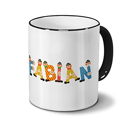 printplanet Tasse mit Namen Fabian - Motiv Holzbuchstaben - Namenstasse, Kaffeebecher, Mug, Becher, Kaffeetasse - Farbe Schwarz