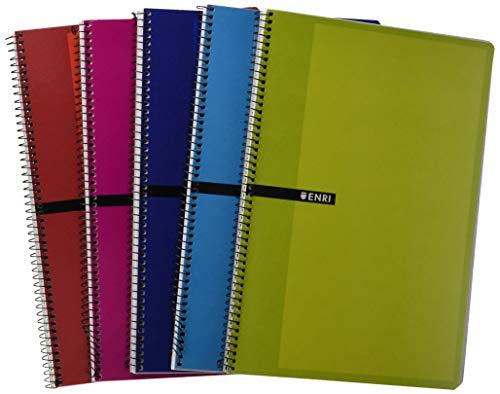 Enri 100430066 - Pack de 5 cuadernos espiral, tapa dura, Fº