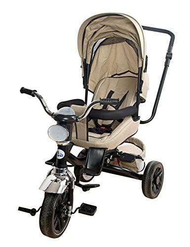 Triciclo Bebé Toral Beig 2 en 1 Evolutivo con Capota y Barra Desmontable 6 m +