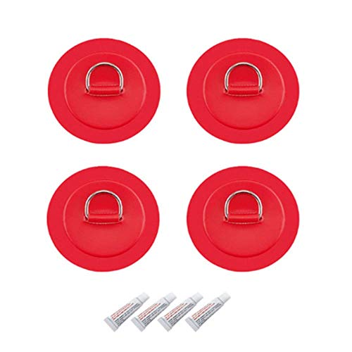 zhwen 4PIeces 316 Stainless Steel D-Ring Patch with Bungee and Glue for PVC Inflatable Boat Kayak Canoe Deck Accessories Set of 4 pieces/Red