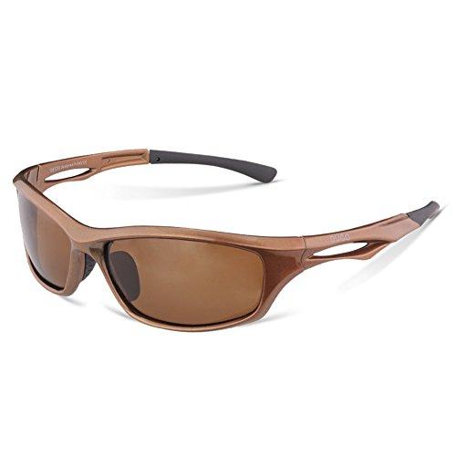 DUCO Polarisierte Sport Sonnenbrille zum Laufen Radfahren Angeln Golf TR90 Unbreakable Rahmen 6199 (Braun Rahmen Braun Linse)