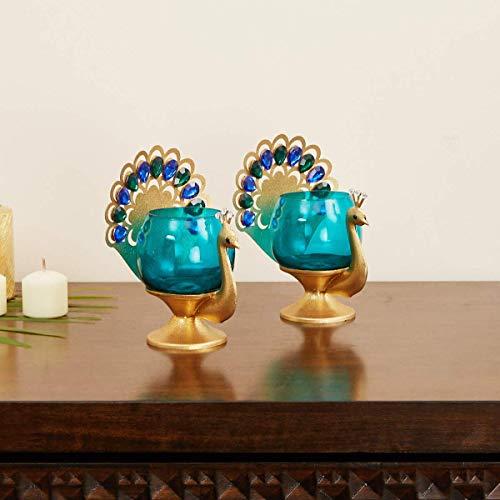 Wgloryind Embellished Peacock Votive Tea Light Candle Holder - Set of 2