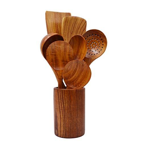 Cucharas de madera para cocinar, cucharas de cocina de madera antiadherentes, utensilios de cocina de teca natural (8 piezas)