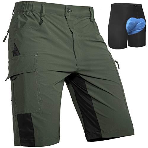 Cycorld Pantaloncini MTB Uomo, Pantaloncini Ciclismo Biciclette, Bici MTB Pantaloni Traspirante MTB Bike Shorts (Verde, L)