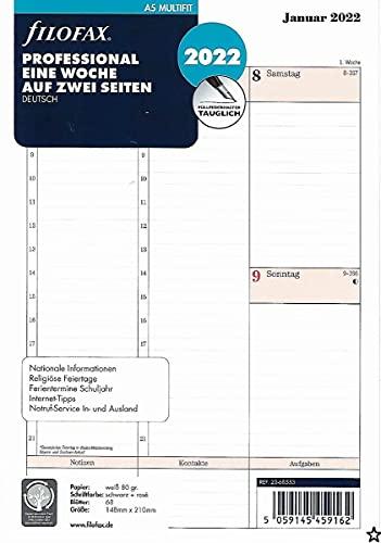 Filofax A5 Prof.1 Woche auf 2 Seiten (deutsch)2022, 22-68553