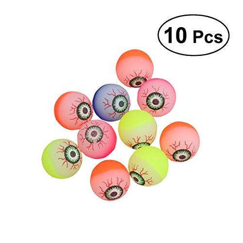 TOYMYTOY 10 Stücke 32mm Halloween Scary Augenbälle, Leuchten in der Dunkelheit Bouncy Balls Spielzeug Party Favors für Kinder (Gelegentliche Farbe)