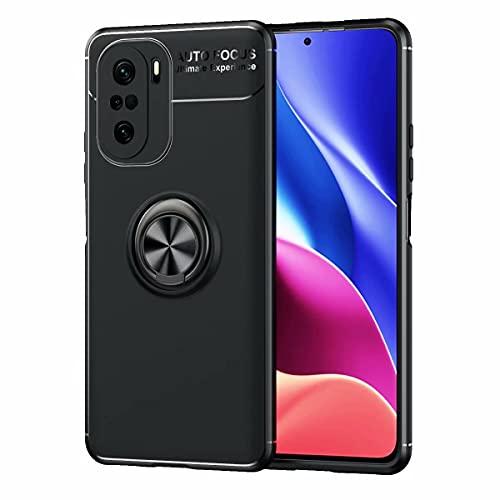 YIKLA Funda para Xiaomi Redmi Poco F3, Suave TPU Silicona Carcasa, 360° Ring Magnético Bracket Case, Armor Bumper Antigolpes Case Cover, Negro