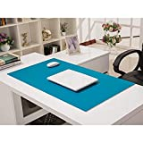 DERUKK-TY Alfombrilla de ratón de escritorio extendida, impermeable, de cuero, antideslizante, alfombrilla de ratón para juegos, portátil, protector de escritorio para oficina, hogar, azul 150 x 70 cm