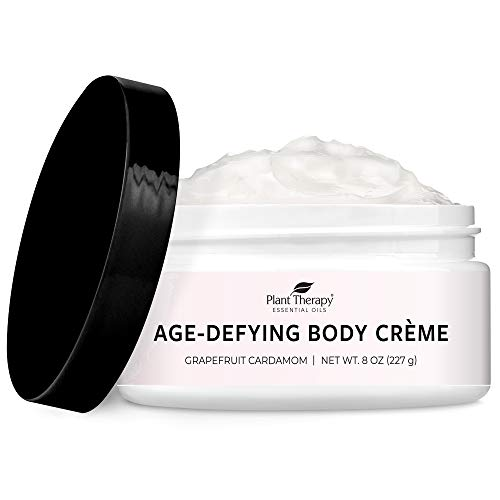 Plant Therapy Grapefruit Cardamom Anti-Age Body Cream with Whipped Shea Butter and Argan Oil 8 oz; 100% Vegan, Soften and Maintain Well Hydrated Skin