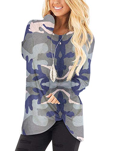 MarinaPrime Womens Shirts and Blouses Long Sleeve Casual Soft Fashion Twist Knot Tunic Sweaters for Women-XL,Camouflage Print01 (Apparel)