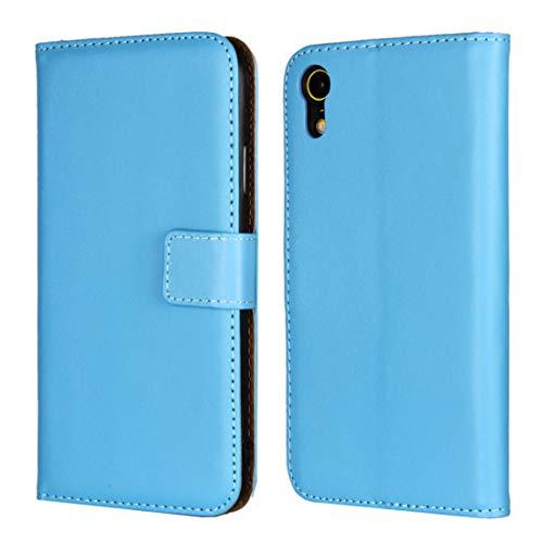 Für iPhone XR Fall Leder Horizontal Flip Holster for iPhone XR, mit Magnetverschluss und Halterung und Karten-Slot und Wallet (schwarz) Asun (Color : Blue)
