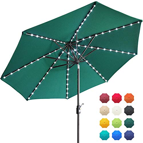EliteShade Sunbrella Solar Umbrellas 9ft Market Umbrella with 80 LED Lights Patio Umbrellas Outdoor Table Umbrella with Ventilation and 5 Years Non-Fading Top,Forest Green