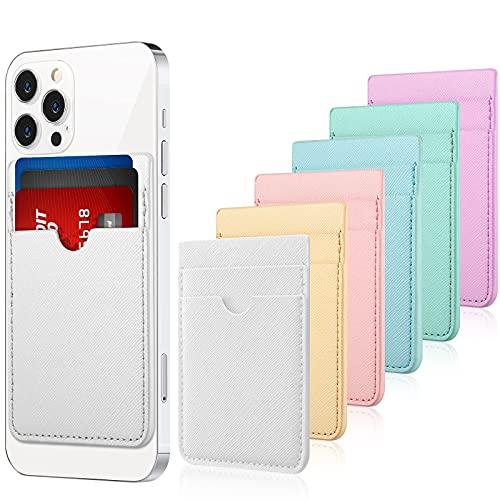 6 Tarjeteros de Teléfono Bolsillo Adhesivo de Tarjeta de Móvil de Cuero PU, Cartera de Tarjeta de Crédito de Identificación Bolsa Compatible con Mayoría de Teléfonos (Color Mezclado)