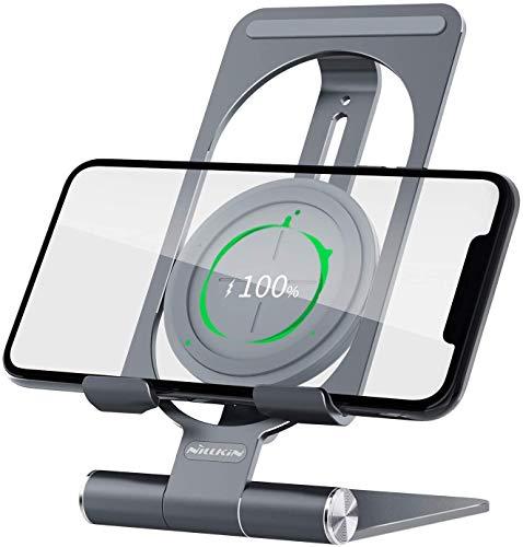 Nillkin Soporte para teléfono ajustable, 2 en 1 Soporte para teléfono con cargador inalámbrico rápido de 15W Soporte de aluminio para teléfono Compatible con iPhone 12 Pro max, Samsung S20 Ultra(Gris)