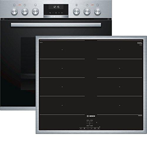 Bosch HND619LS65 Herd-Kochfeld-Kombination (Einbau) / A / 59,4 cm / Edelstahl / Klapptür / LCD-Display / GranitEmail / Induktionskochfeld (herdgesteuert) / 4 Induktions-Kochzonen / Umlaufender Rahmen