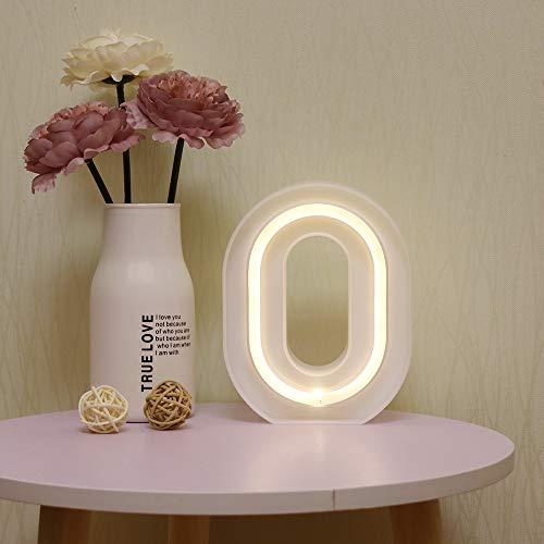GUOCHENG - Luces LED de neón para letras de alfabeto, luz de letra, batería y USB Power Marquee, luces de neón para Navidad, boda, hogar, fiesta, decoración O