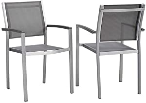 Modway Shore Aluminum Two Outdoor Patio Dining Arm Chairs in Silver Gray