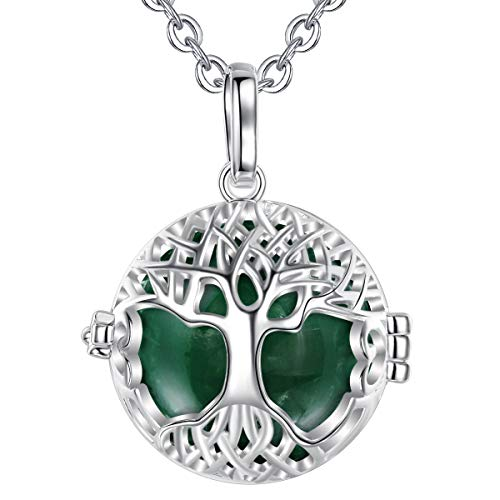 AEONSLOVE Harmony Ball Pregnancy Bola Necklace Silver Celtic Tree of Life Melody Angel Chime Caller Bell 20mm Mexican Bola Ball Pendant 30' Necklaces for Pregnant Women Baby Mom Gifts(Dark Green)