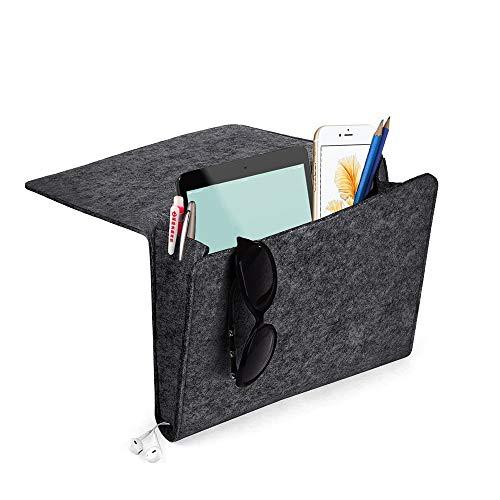 Yifen Filzbett Caddy mit Zwei Taschen innen und seitlich Ladekabel Loch für Telefon, iPad, Buch, Stift, Glas, Fernbedienung, Spielzeug 24x27x8cm(Dunkelgrau)