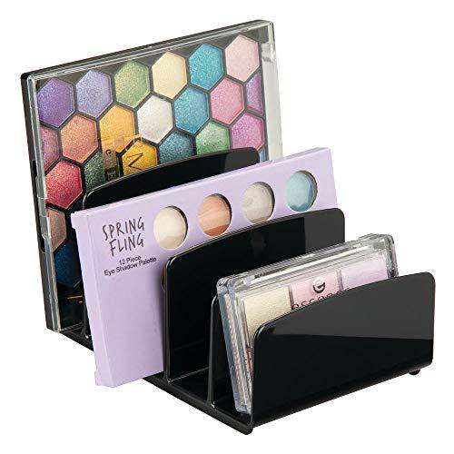 mDesign - Make-up organizer - cosmetica-organizer/opberger - strak/modern - met 5 gescheiden gedeeltes - voor badkamer/aanrechten/badmeubels/kasten - voor oogschaduwpaletten/contoursets/rouge/gezichtspoeder - zwart