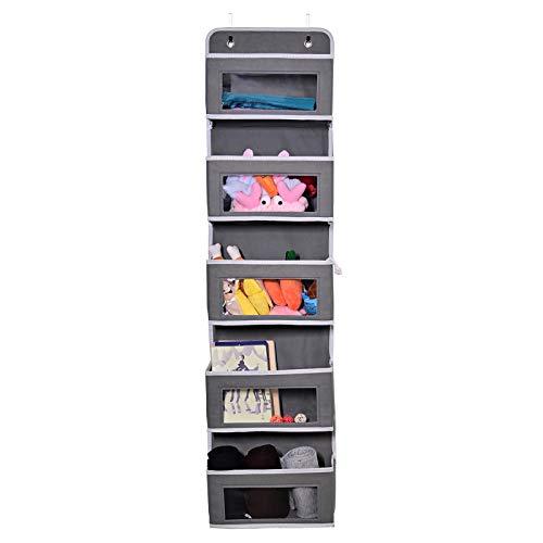 YMH PRIDE Bolsa de almacenamiento para colgar en la puerta, puerta de almacenamiento suave para colgar, organizador de almacenamiento de armario de pared con 5 bolsillos grandes para armario de baño