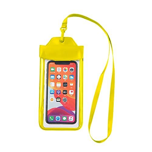 Funda impermeable para teléfono móvil con airbag flotante, 2 unidades, para playa, Drift Natación, para iPhone 6, 6S, 7, 8 Plus, X, XS, XR, Samsung S6, S7 Edge, S8, S9, color amarillo