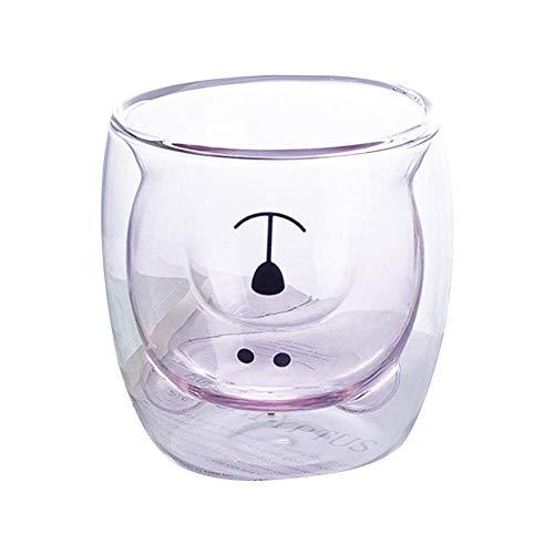 Accesorios de vino Copa de oso Copa de vidrio Botella de agua Taza de café de 2 niveles Precioso oso oso Cerveza Vasos Familiar Lindo creativo Oso Taza Café (Color: H)
