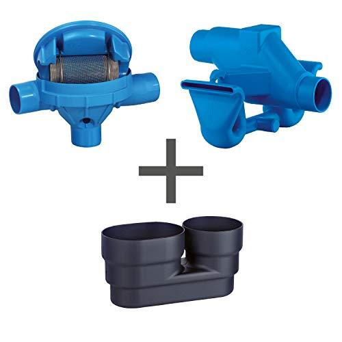 Regenwasserfilter Zisternenfilter 3P Spar-Set SF mit Edelstahlsieb für den Einbau in die Zisterne, Anschluss DN 100, Höhenversatz 125 mm. Für die Regenwassernutzung im Haus und zur Gartenbewässerung