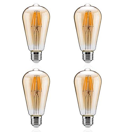 Tengyuan LED電球 60W形相当 エジソン電球 E26口金 8W led フィラメント 電球色 850lm クリアタイプ エジソンランプ アンバーガラス 広配光タイプ ST64 クリア電球 E26 360度発光 (8W金色 4個入り)