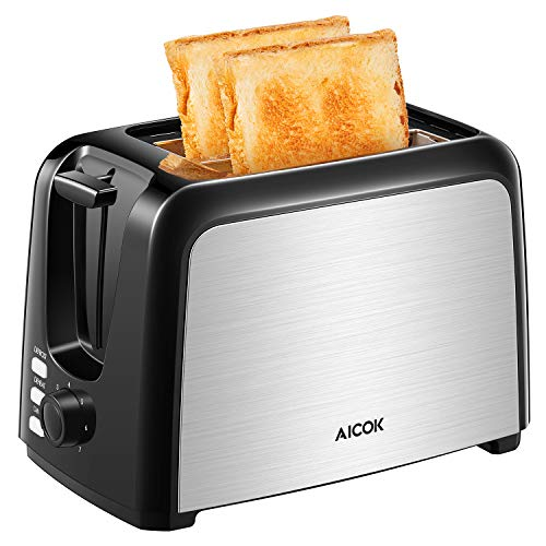 Aicok - Tostadora de acero inoxidable, 2 tostadas, 7 niveles de tostado, carcasa de doble pared con aislamiento térmico, bandeja para migas extraíble, 950 W, color negro