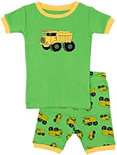 Image of Green Construction Dump Truck Short Pajama Set for Boys and Toddlers - See More