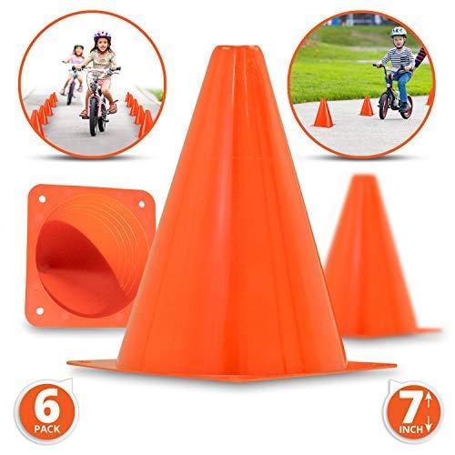 Conos de tráfico de plástico premium de 7.0 in (6 unidades)   naranja, conos temáticos de construcción multiusos para diversas actividades y eventos, perfecto para fiestas de niños, interiores, exteriores y eventos festivos.