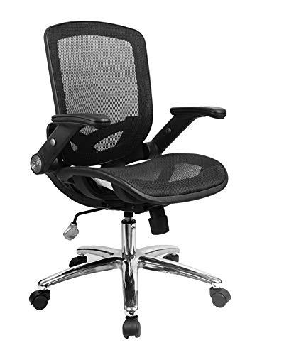 YULUKIA 200001 Atmungsaktiver Netzsitz und -rücken Bürostuhl Ergonomischer, höhenverstellbarer, leicht gepolsterter Armlehnendrehstuhl Computer Chair Meetingraum Stühle, Desk Chair Gaming-Schreibti