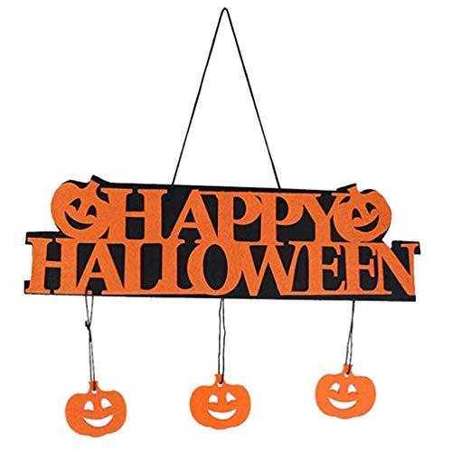 ARTIBETTER 2 Piezas Feliz Halloween Cartel de Bienvenida Calabaza Pared Ventana Colgador de Puerta Colgante Colgante para Interior...