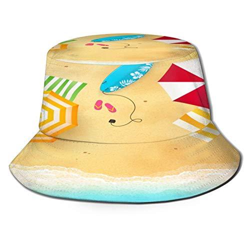 Sombrero de Pesca,Olas de Playa con sombrilla, Toallas y Tabla de Surf, natación temática Temporada de Verano,Senderismo para Hombres y Mujeres al Aire Libre Sombrero de Cubo Sombrero para el Sol