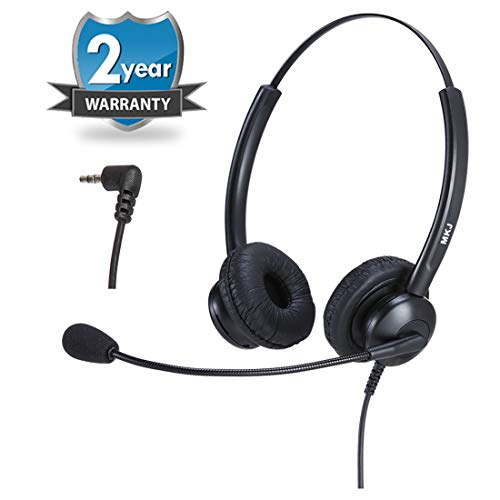 MKJ Corded 2.5mm Headset for Office Phones Binaural Telephone Headset with...